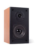 Classic Speaker. Wooden modern speaker isolated with clipping path over white background Royalty Free Stock Images