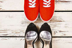 Classic and sport women`s shoes. Royalty Free Stock Photography