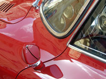 Classic Sports Car - Bright Red & Chrome Trim Stock Images