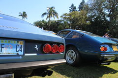 Classic sports car tail lights and rear deck Stock Photos