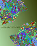 Classic spring  card with elements of zentangle . Vector print. Beautiful  bright  pattern, delicate  green    background. Use for greeting card, birthday card Stock Photography