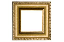 Classic square golden frame. Isolated on white Stock Image