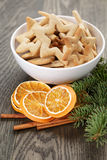 Classic star cookies in white bowl with christmas Stock Images