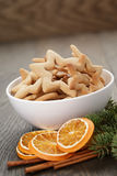 Classic star cookies in white bowl with christmas Stock Photos