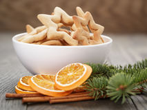Classic star cookies in white bowl with christmas Royalty Free Stock Images