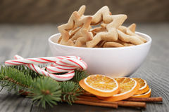 Classic star cookies in white bowl with christmas Royalty Free Stock Image
