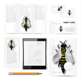Classic stationery template. Documentation for. Classic stationery template of brochure, booklet, flyer with honey bee. Documentation for business. Vector Royalty Free Stock Photo