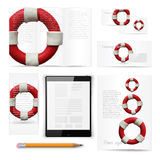 Classic stationery template. Documentation for. Classic stationery template of brochure, booklet, flyer with lifebuoy. Documentation for business. Vector Royalty Free Stock Photos