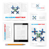 Classic stationery template. Documentation for. Classic stationery template of brochure, booklet, flyer with quadrocopter drone. Documentation for business Stock Photos