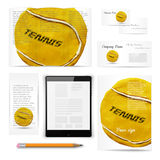 Classic stationery template. Documentation for. Classic stationery template of brochure, booklet, flyer with tennis ball. Documentation for business. Vector Stock Photo