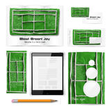 Classic stationery template. Documentation for. Classic stationery template of brochure, booklet, flyer with tennis court. Documentation for business. Vector Royalty Free Stock Image