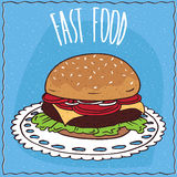 Classic steak burger in handmade cartoon style Royalty Free Stock Photography