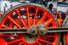 Classic steam engine red spoke wheel, detail Stock Image