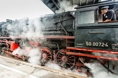 Classic steam locomotive starting engines Royalty Free Stock Photography