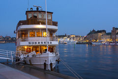 Classic steamer moored Stockholm twilight Royalty Free Stock Photos