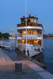 Classic steamer moored Stockholm twilight Royalty Free Stock Photography