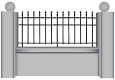 Classic steel bars. Concrete fence with classic steel bars. Vector illustration Stock Image