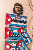 Classic stencil of Che Guevara and souvenir license plates for sale in old Havana Royalty Free Stock Photo