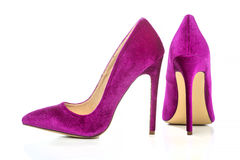 Classic stiletto high heels shoes in pink suede. /velvet Royalty Free Stock Images