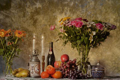 Classic still ife with flowers and candles Stock Photo