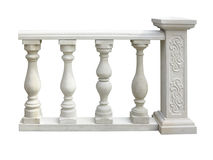 Classic stone balustrade with column isolated over white Royalty Free Stock Image