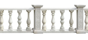 Classic stone balustrade with column isolated over white Stock Images