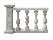Free Classic Stone Balustrade With Column Isolated Over White Royalty Free Stock Image - 84653156