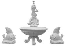 Classic stone fountain basin isolated over white Stock Photography