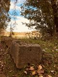 Classic stones wait along a trail in Peninsula - OHIO. Peninsula is a village in Summit County, Ohio, United States. The population was 565 at the 2010 census stock images