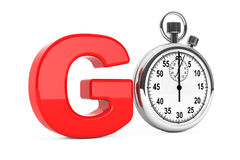 Classic Stopwatch as Red Go Sign. 3d Rendering Royalty Free Stock Photo
