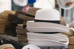 Classic straw hats to wear Stock Image