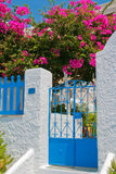 Classic street with colorful flowers in Santorini Stock Photography