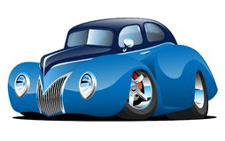 Classic Street Rod Coupe Custom Car Cartoon Vector Illustration. Very cool hot rod, retro-rod, street rod, vintage sedan coupe cartoon illustration. Mean, low stock illustration