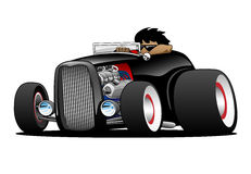 Classic Street Rod Hi Boy Roadster Illustration. Hot American vintage hot rod hiboy roadster car cartoon. Black, cool stance, low profile, big tires on vintage Stock Photos