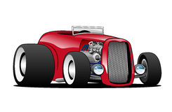 Classic Street Rod Hi Boy Roadster Illustration. Hot American vintage hot rod hiboy roadster car cartoon. Red, cool stance, low profile, big tires on vintage Stock Photos