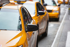 Classic street view of yellow cabs in New York city Stock Image