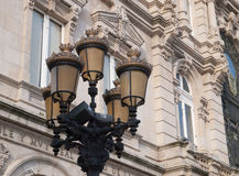 Classic streetlight in La Coruna, Spain. Stock Image