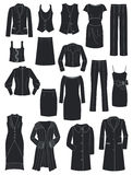 Classic style. A set of silhouettes of womens classic clothing Royalty Free Stock Photos