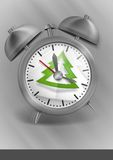 Classic Style Alarm Clock With Christmas Tree Royalty Free Stock Image