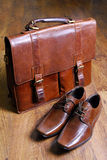 Classic  style briefcase and leather shoes Royalty Free Stock Photo
