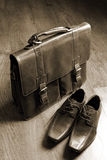 Classic style briefcase and leather shoes Royalty Free Stock Images