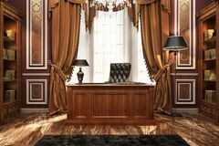 Beautiful cabinet and library in classic style. Classic style cabinet and library royalty free illustration