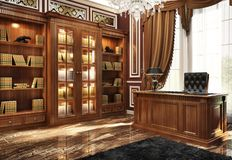 Beautiful library in classic style. Classic style cabinet and library stock illustration