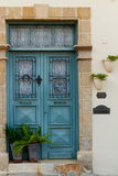 Classic style cyan wooden door house entrance and cat Stock Images