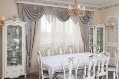 Classic style dining room interior Stock Photos