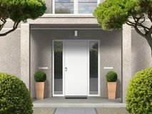 Classic style house facade with entrance portal and front door royalty free stock images