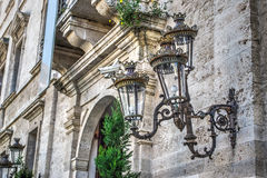 Classic style lamp in Palazzo Ducale in Sassari Royalty Free Stock Photography