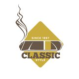 Classic style logotype with cigars against yellow rhombus. Classic style logo label with cigar against yellow rhombus isolated on white. Vector colorful Royalty Free Stock Photos