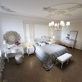 Classic style luxury bedroom interior in beige colors with boudoir and window royalty free illustration