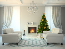 Classic style room with fireplace and christmas tree. 3D rendering Royalty Free Stock Image